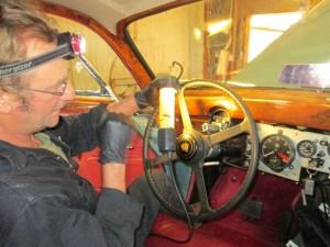 Steve threads light wires thru the Mk9 shift quadrant