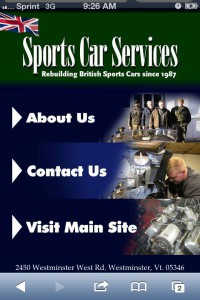 Sports Car Services website on the small screen